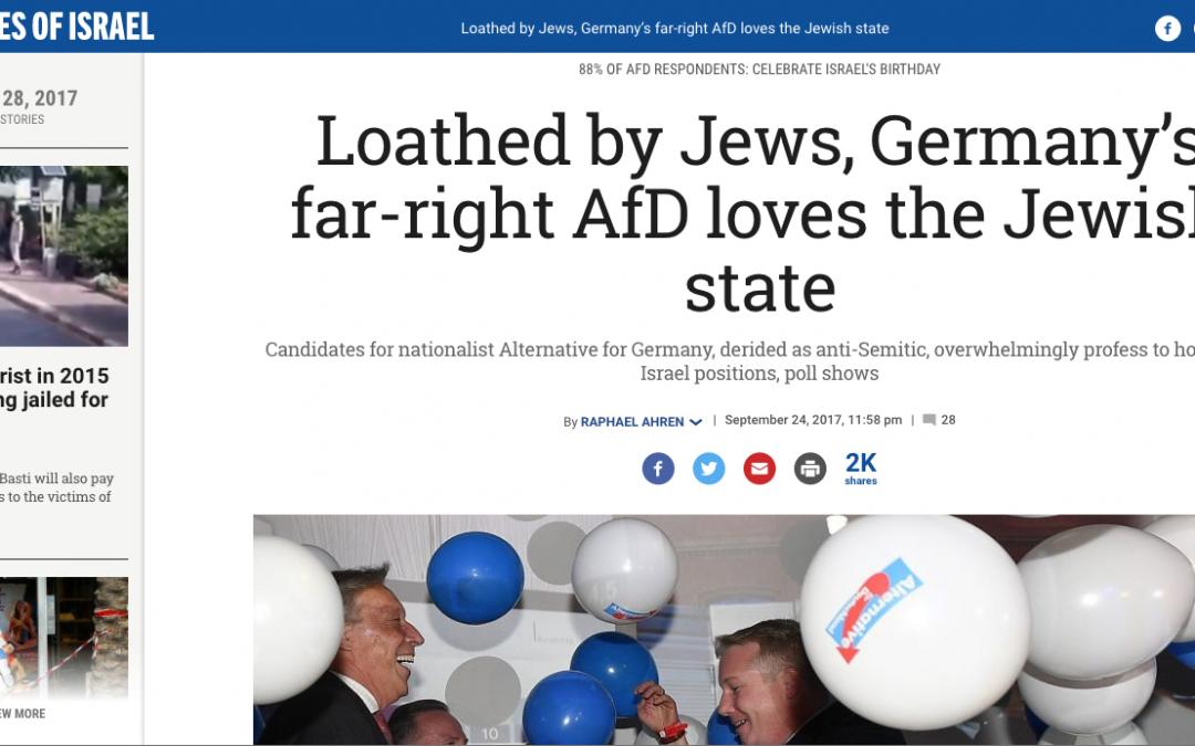Berichterstattung Times of Israel